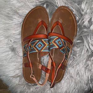 Aztec boho tan sandals